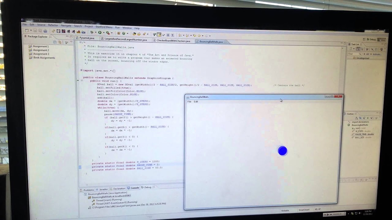 Learning Java - The Bouncing Ball off Walls