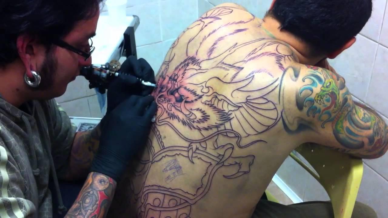 Popolare Tatuaggio Giapponese Schiena - Drago + Teschio di un guerriero  FU74