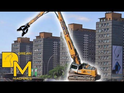 LIEBHERR R960 Demolition BAGGER SCHWERTRANSPORT BAUSTELLE DOKU / ABBRUCH CITY-HOF HAMBURG
