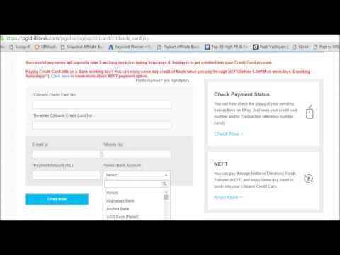 Citibank Credit Card Payment through other bank netbanking bill desk
