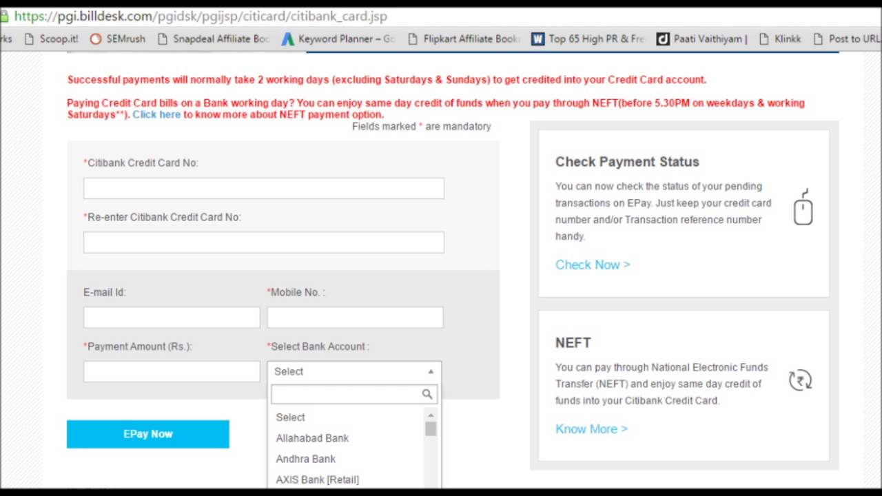 Citibank Credit Card Payment Online >> Citibank Credit Card Payment through other bank netbanking bill desk - YouTube