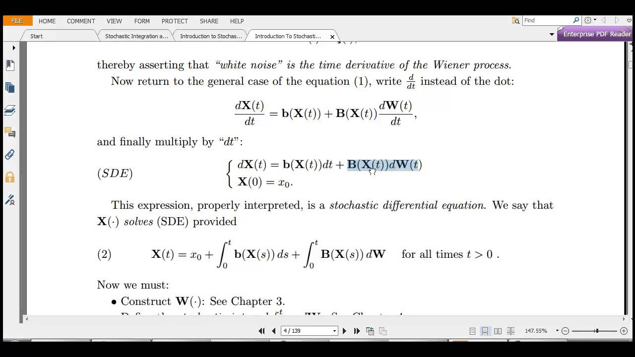 Stochastic calculus and Stochastic differential equations