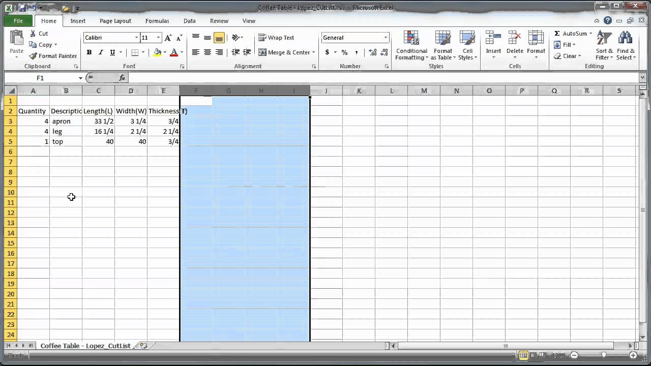 cutting list excel template tutorial sketchup cutlist plugin to excel 146