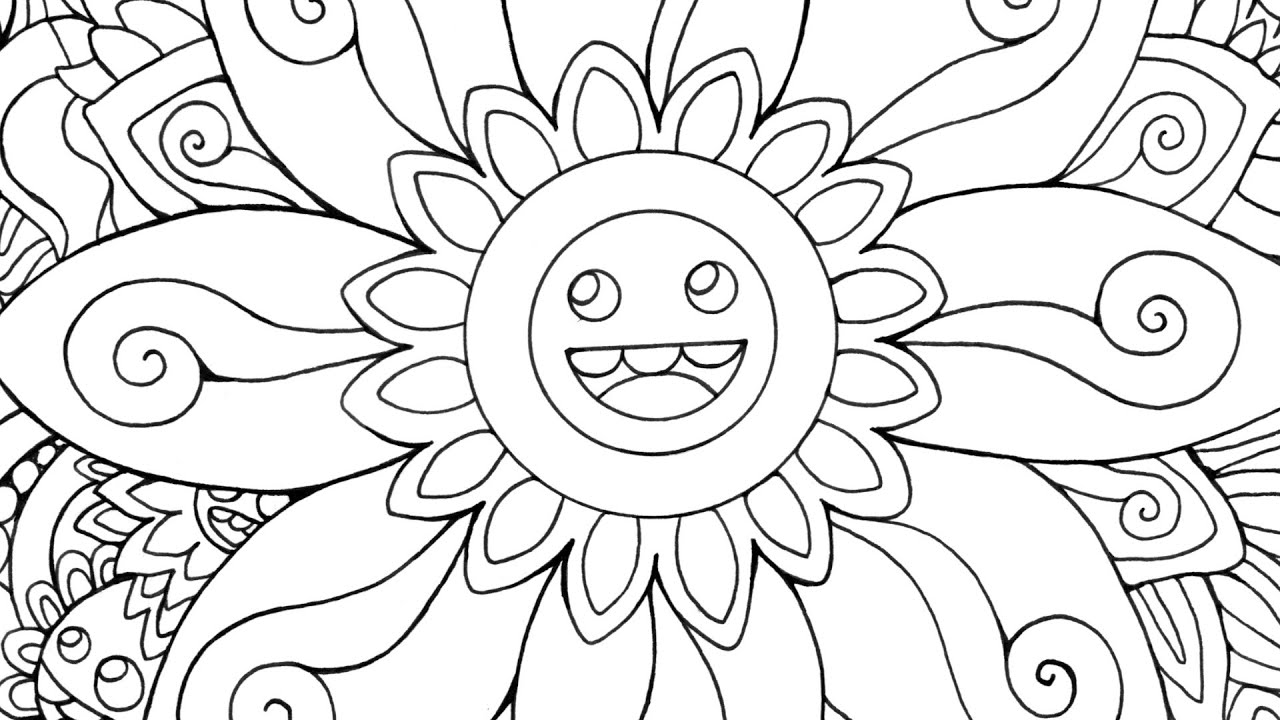speed drawing happy flowers coloring page youtube