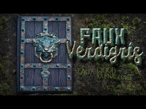 Polymer Clay Journal Cover With Faux Verdigris & Faux Wood  Time-Lapse