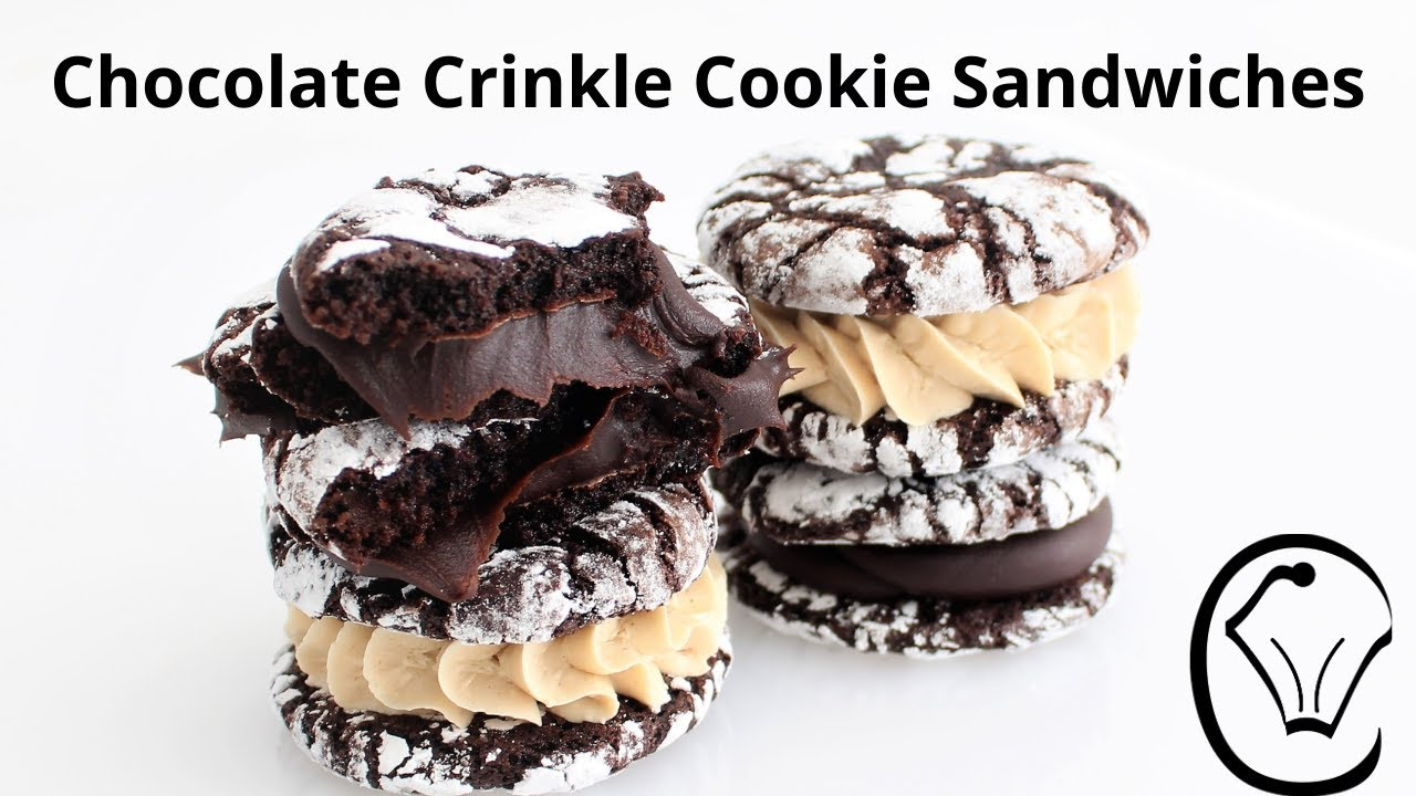 Fudge Chocolate Crinkle Cookie Sandwiches with Ganache Truffle and Buttercream Filling Large Batch