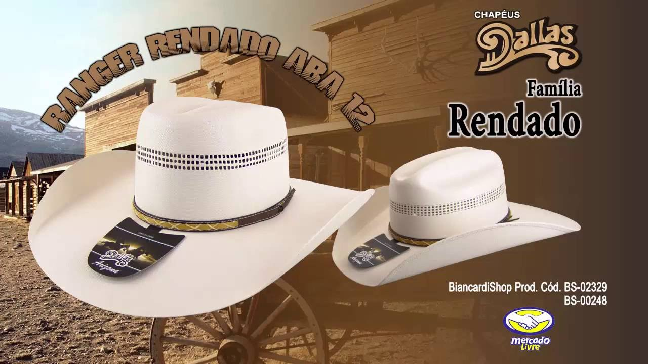 Chapéu Dallas Ranger Rendado Aba12 BS-02329 BiancardiShop - YouTube a1e8ae645b3