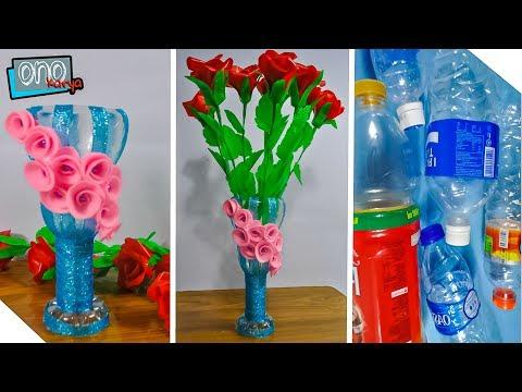 Vas Bunga Botol Plastik Yang Mudah Di Buat Di Rumah Diy Plastic Bottle Youtube