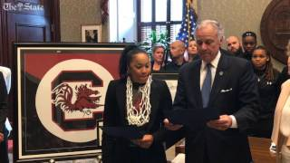 Governor McMaster presents Gamecocks Head Coach Dawn Staley with The Order of The Silver Crescent.