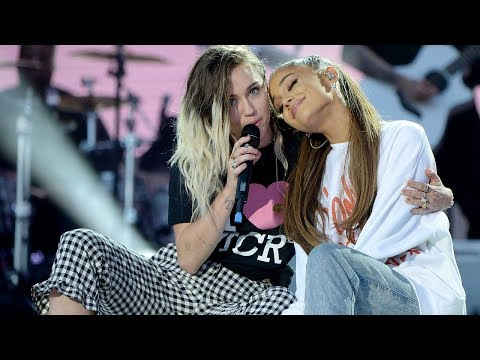Miley Cyrus With Ariana Grande ''Don't Dream It's Over'' Live At 'One Love Manchester
