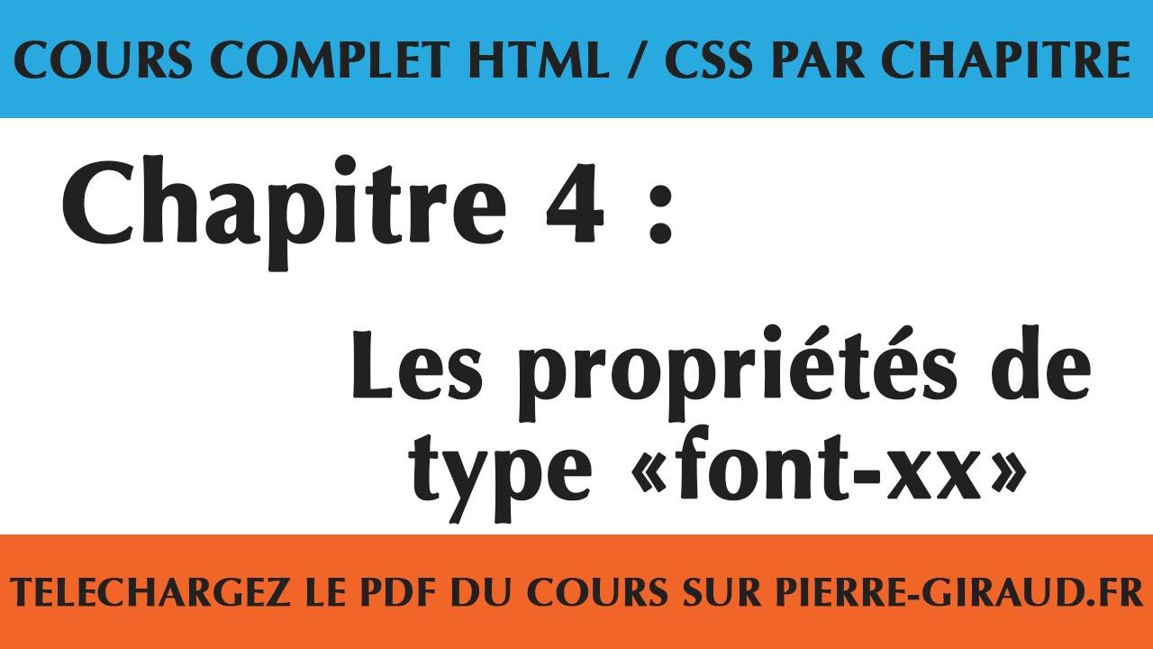 Cours Complet Html Css Chapitre 4 10 Les Proprietes De Type