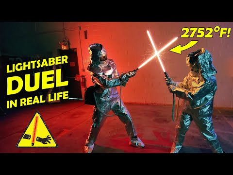 REAL BURNING LIGHTSABER DUEL! (2752°)