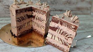 шоколадный БИСКВИТНЫЙ торт ЗЕБРА Эффектный и вкусный Ручным миксером