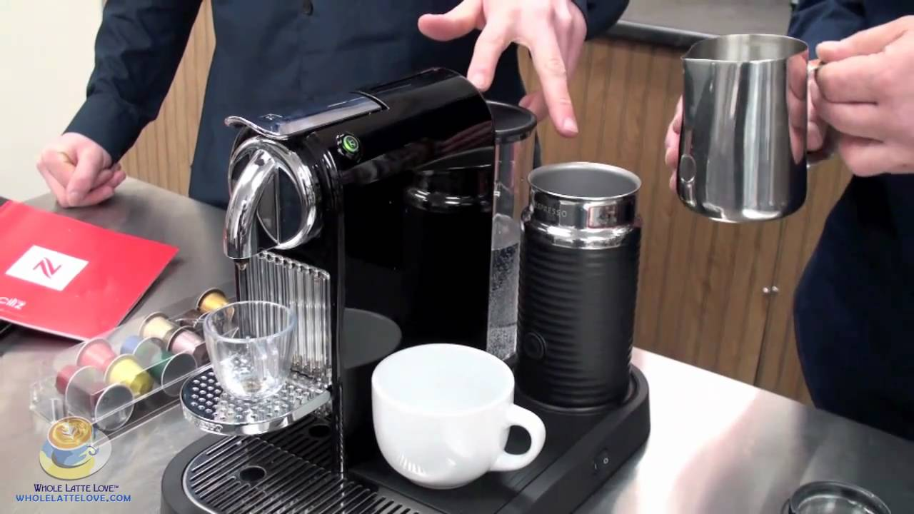 nespresso citiz in black with aero 3 milk frother youtube. Black Bedroom Furniture Sets. Home Design Ideas