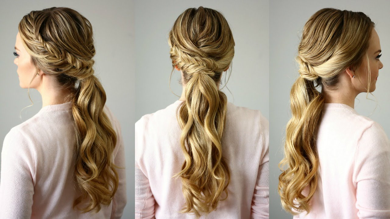 Hair Styles With Long Hair: Fishtail Embellished Ponytail
