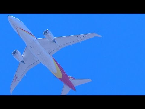 China Hainan Airlines Boeing 787 on approach to San Jose, California