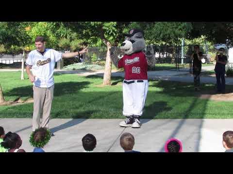 Sacramento Rivercats Mascot, Dinger, visits Brighton Private School in Folsom, ca