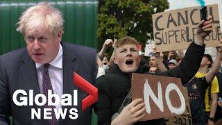 Super League Soccer fans Boris Johnson react as major European clubs abandon project