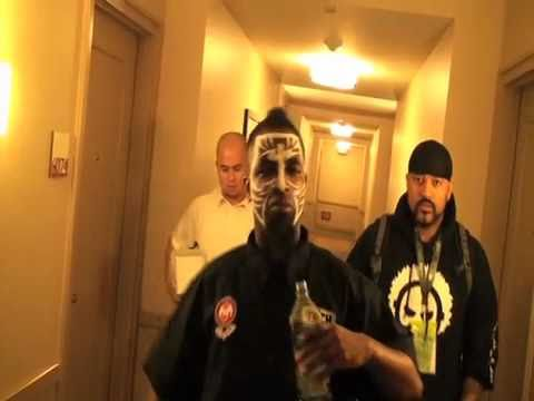 Tech N9ne getting Face Painted before  sxsw 2011 show hanging with Dirty Wormz Austin Texas
