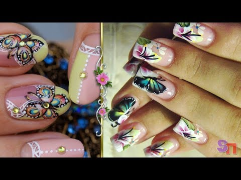 Френч с бабочками на ногтях фото