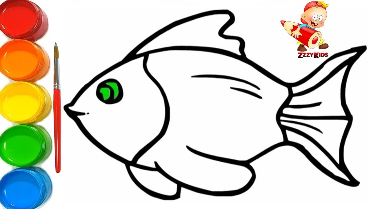 How To Draw And Colour A Fish Colouring Pages For Kids Learn
