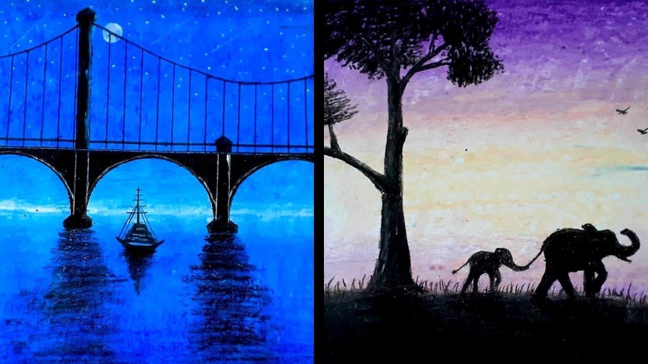 Vẽ lại những bức tranh TRIỆU VIEW trên youtube - Vẽ tranh bằng sáp màu dầu - Hung art