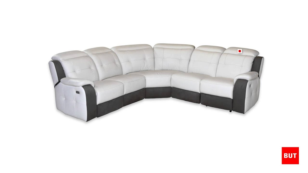 Canap d 39 angle xxl relax caravelle but youtube for Canape cuir relax electrique