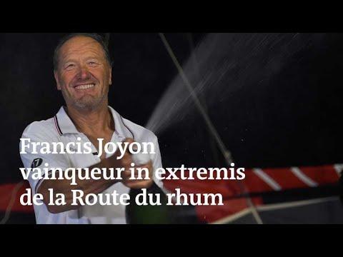 Francis Joyon célèbre sa victoire de la Route du rhum