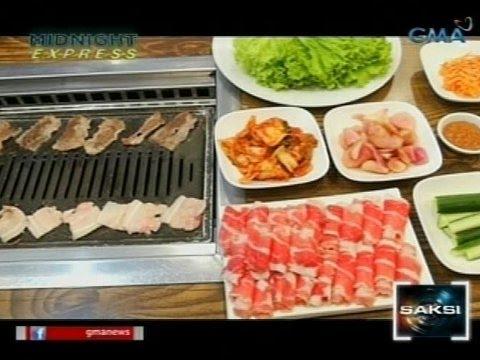 Samgyeopsal ng Korea, may inihaw na tatlong layers ng karne ng baboy na ibinalot sa lettuce