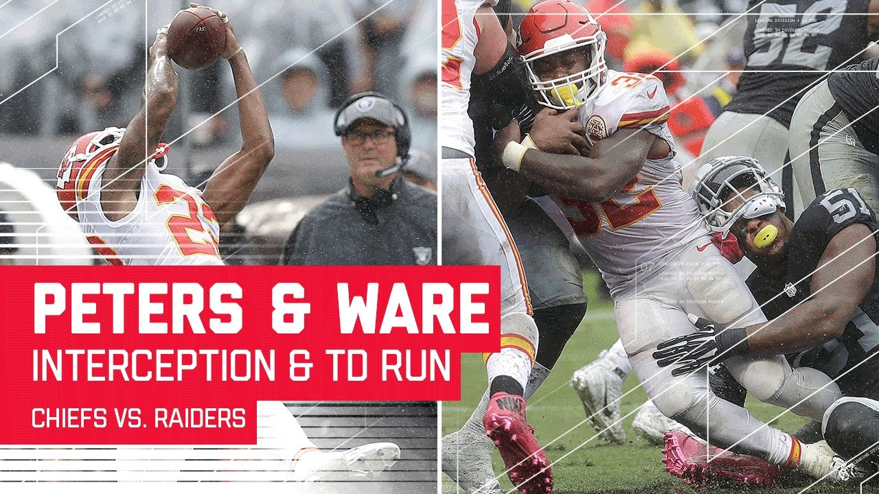 Marcus Peters' INT Leads to Spencer Ware's TD Blast!  Chiefs vs. Raiders  NFL