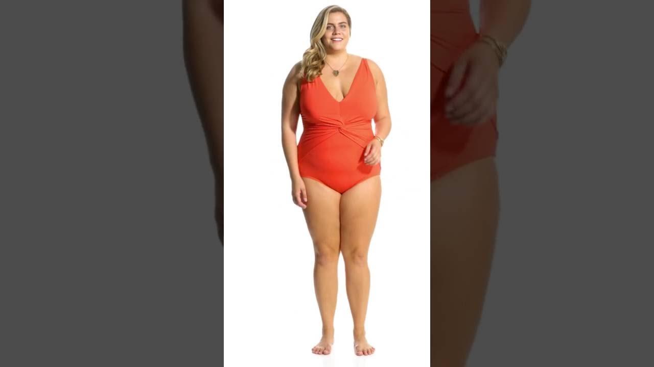 51ec96aafd8 Michael Kors Swimwear Plus Size Solid Deep V Twist One Piece Swimsuit