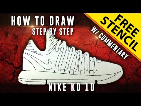 How To Draw - Step by Step: Nike KD 10 w/ Downloadable Stencil