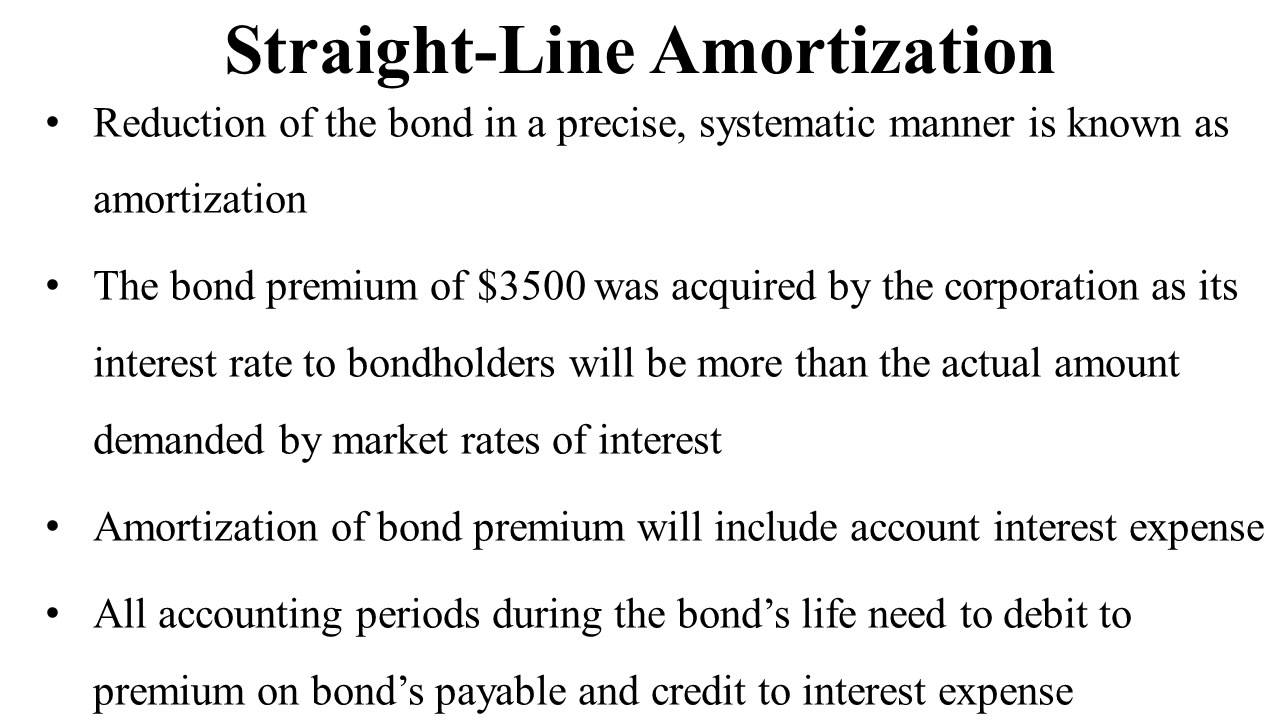 bond premium and straight line amortization youtube