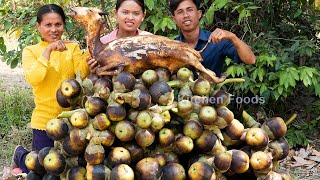 Cooking Yummy Curry Palm Fruit with Whole Goat Recipe Village Life Style - Eating and Sharing Foods
