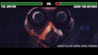 The Janitor vs. Ozzie the Ostrich fight WITH HEALTHBARS | HD | Willy's Wonderland
