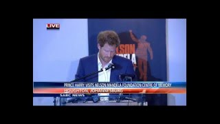 Prince Harry addressing the media at the Nelson Mandela Foundation