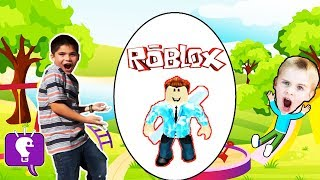 Giant ROBLOX Surprise Egg! Family Toy Reviews with HobbyKids