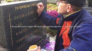 Obnova zlatých nápisov na náhrobných pomníkoch