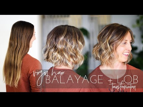 Balayage Technique on Virgin Hair with Long Bob Haircut