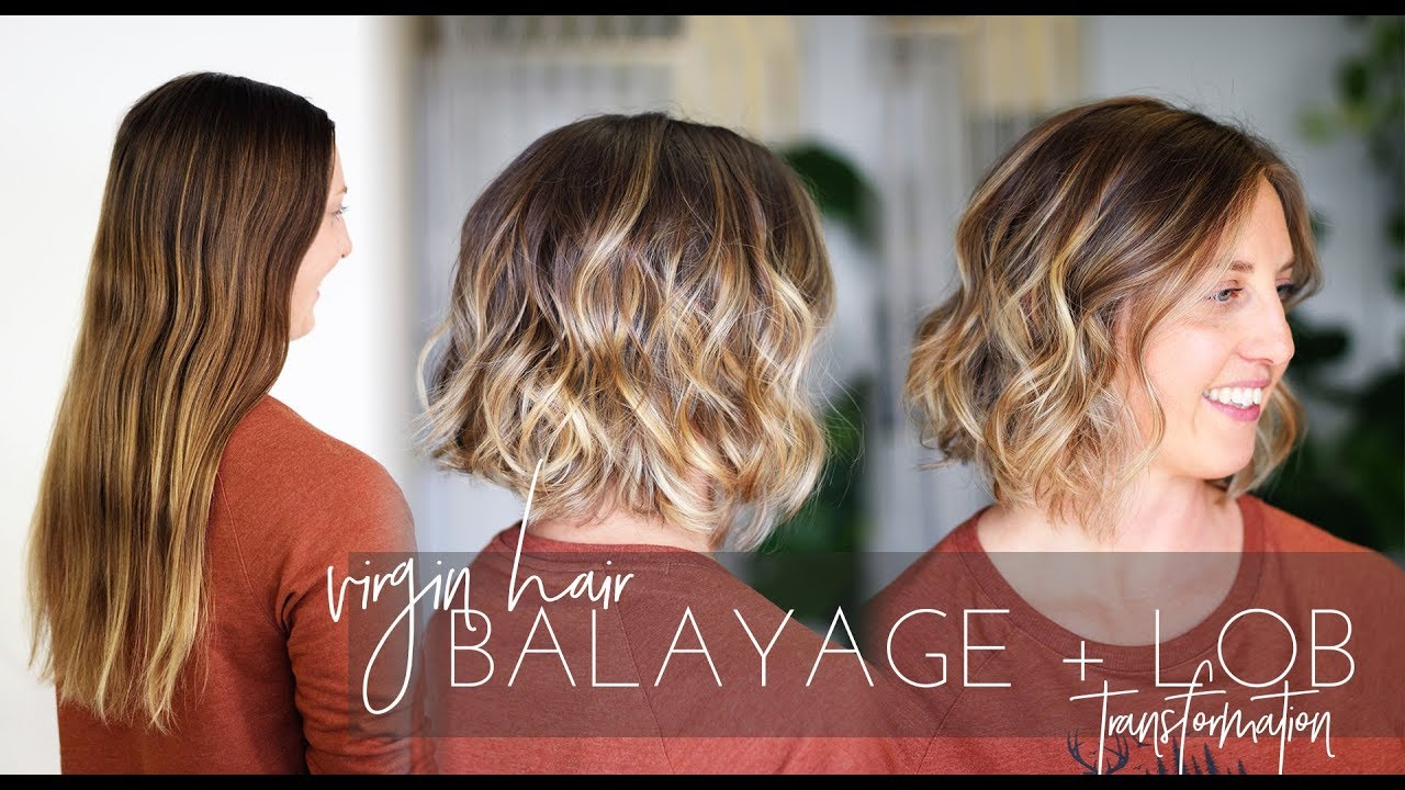 Balayage Technique On Virgin Hair With Long Bob Haircut Short Hair Transformation Youtube