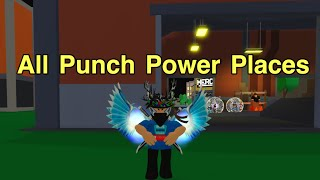 All Punch Power Places | Roblox Power Simulator