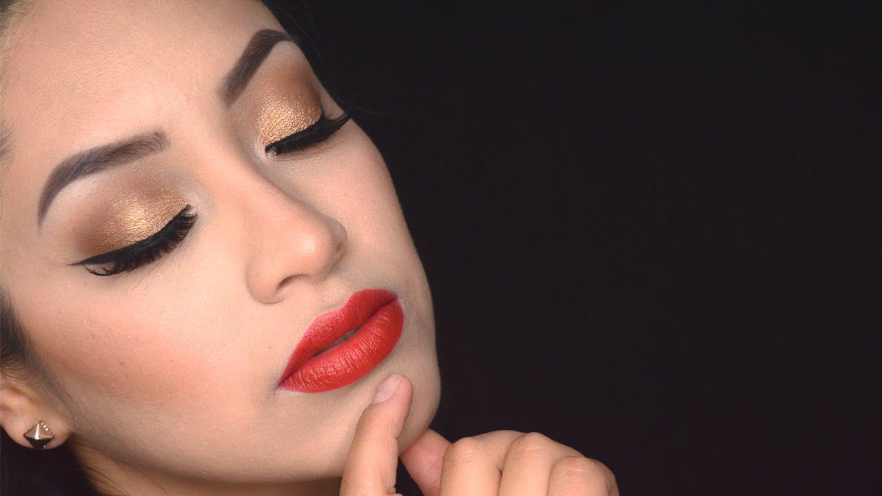 Maquillaje para fiesta , Ojos dorados y labios rojos