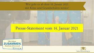 Die landesregierung berät darüber, wie es nach dem 18. januar 2021 mit kitas und grundschulen weitergeht. ministerpräsident winfried kretschmann informiert i...