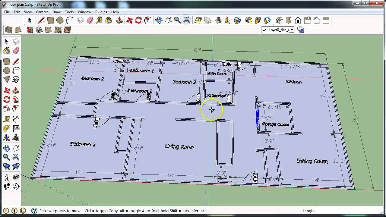 Sketchup floor planning video 3 youtube for Floor plans in sketchup