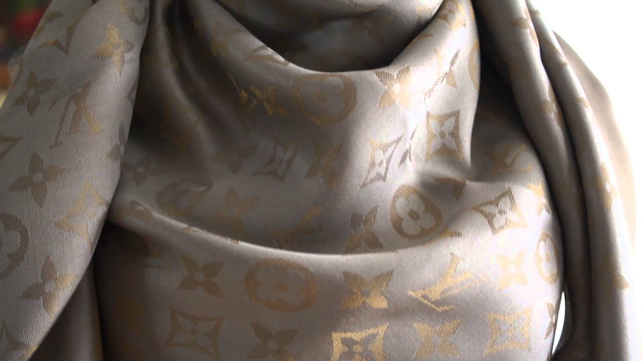 authentic louis vuitton lv monogram shine scarf shawl review unboxing beige buy