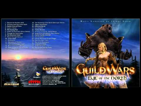 Guild Wars Eye of the North OST: Album Tracklist:  0:00 Beyond the Northern Wall  2:56 Overture from Eye of the North  5:17 Ballad of Ice and Snow  9:56 Gwen's Theme  11:10 The Scrying Pool  12:14 Under the Dark Span (Asura Theme)  13:40 Through the Asura Gates  16:50 The Doomlore Flame  21:39 March Through Norrhart  23:42 Livia's Heart  25:13 Kathandrax  27:13 Memories of Ascalon  28:18 Claiming Balthazar's Favor  29:26 Horns of Gunnar's Hold  40:21 The Shattering of the World (Destroyer Theme)  42:18 Ogden Stonehealer  43:21 Darkrime Delves  45:24 Iron Footfalls  48:01 Victory Banners  49:27 A Storm is Coming - Battle Depths  52:06 Song of the Shiverpeaks (Norn Theme)  54:14 Central Transfer Chamber  55:20 The Primordial  57:14 Live by the Sword (Svanir's Saga)  59:13 The Great Bear's Roar  1:01:31 Rise of the Destroyers  1:04:40 Vanguard's Stand  1:05:58 All Hail King Jalis  1:07:07 The Sun Beyond the Peaks  1:08:16 Legacy of the Gods  1. Beyond the Northern Wall 2. Overture from Eye of the North 3. Ballad of Ice and Snow 4. Gwen's Theme 5. The Scrying Pool 6. Under the Dark Span (Asura Theme) 7. Through the Asura Gates 8. The Doomlore Flame 9. March Through Norrhart 10. Livia's Heart 11. Kathandrax 12. Memories of Ascalon  13. Claiming Balthazar's Favor 14. Horns of Gunnar's Hold 15. Tome of Rubicon (Dwarf Theme) 16. Darkness Beneath 17. Lyssa's Dance 18. The Shattering of the World (Destroyer Theme) 19. Ogden Stonehealer  20. Darkrime Delves 21. Iron Footfalls  22. Victory Banners  23. A Storm is Coming - Battle Depths 24. Song of the Shiverpeaks (Norn Theme) 25. Central Transfer Chamber  26. The Primordial  27. Live by the Sword (Svanir's Saga)  28. The Great Bear's Roar 29. Rise of the Destroyers  30. Vanguard's Stand  31. All Hail King Jalis  32. The Sun Beyond the Peaks 33. Legacy of the Gods  Guild Wars Eye of the North OST. Music composed by Jeremy Soule.  All rights reserved for ArenaNet and NCsoft.