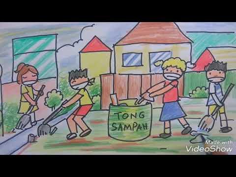 Gambar Kerja Bakti Di Lingkungan Sekolah Kartun Cara Menggambar Tema Kerja Bakti Cocok Untuk Anak Sd Mulyadi Art Class Youtube