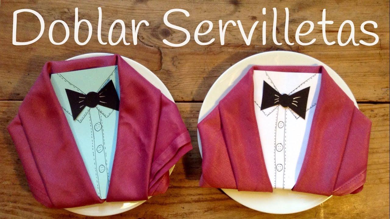 Doblar servilletas de tela en forma de chaqueta for Decoracion de servilletas