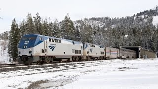 Amtrak California Zephyrs over Donner Pass- Tunnels and Bridge shots!
