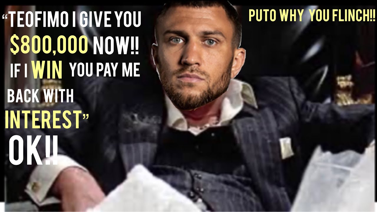 """Vasyl Lomachenko gives 800'gs to Teofimo Lopez """"but if I win Teo pays me back with INTEREST!!"""